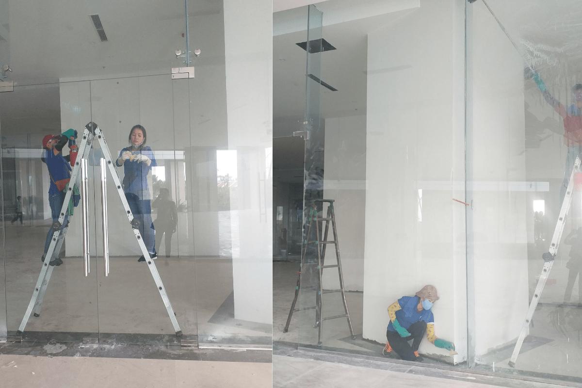 Vệ sinh cửa kính, lau kính toà nhà tại Hạ Long Quảng Ninh